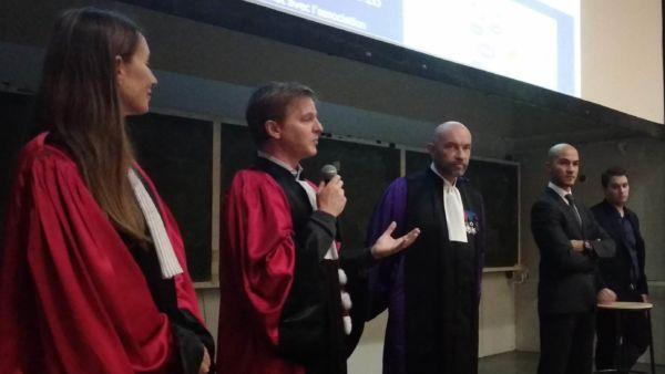 Les co-responsables de la formation avec le Président de l'université de Montpellier M. Augé