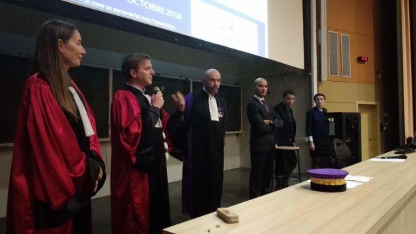 Les co-responsables de la formation avec le Président de l'université de Montpellier M. Augé et les anciens diplômés